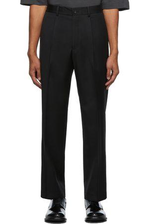N. HOOLYWOOD Men Wide Leg Pants - Wool Wide Tapered Trousers