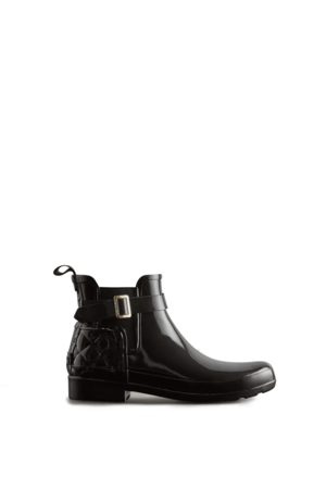 Hunter Women Chelsea Boots - Women's Refined Slim Fit Quilted Gloss Chelsea Boots