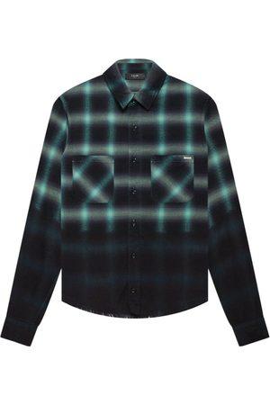 AMIRI Dip Dye Shadow Plaid Print Shirt Mint Green