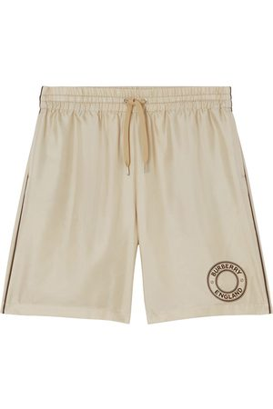 Burberry Silk Logo Graphic Drawcord Shorts Soft Fawn