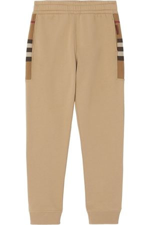 Burberry Check Panel Joggers Camel