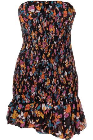 Saint Laurent Strapless Smocked Floral Mini Dress