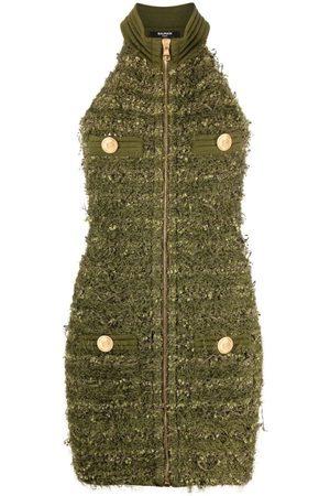Balmain Sleeveless Zipped Tweed Mini Dress Green