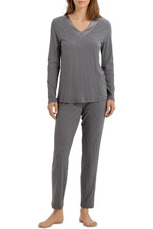Hanro Silk Trim Long Sleeve Pajama Set