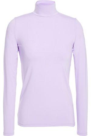 Majestic Women High Necks - Woman Stretch-jersey Turtleneck Top Lavender Size 1