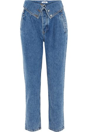 RE/DONE Woman 80s Fold-over High-rise Tapered Jeans Mid Denim Size 23