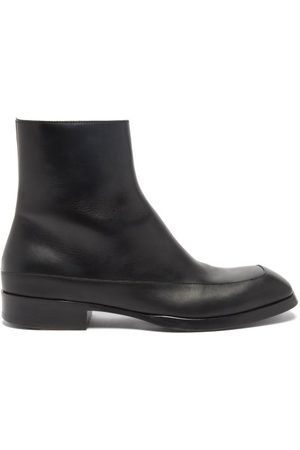 The Row Panelled Leather Boots - Mens - Dark