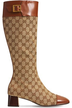 Gucci 45mm Ellis Tall Canvas & Leather Boots