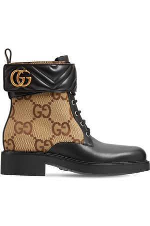 Gucci Women Ankle Boots - 40mm Marmont Canvas & Leather Ankle Boot