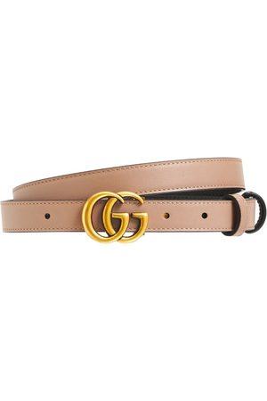 Gucci Women Belts - 2cm Gg Marmont Reversible Thin Belt