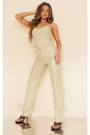 PRETTYLITTLETHING Women Leather Pants - Olive Faux Leather Pocket Front Straight Leg Pants