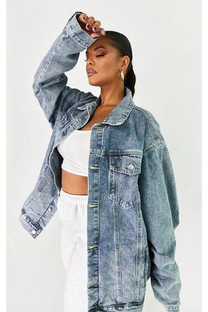 PRETTYLITTLETHING Women Denim Jackets - Plus Vintage Wash Oversized Boyfriend Denim Jacket