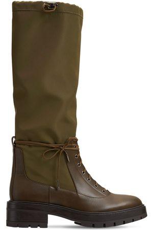 Aquazzura 50mm Rain Nylon & Leather Tall Boots