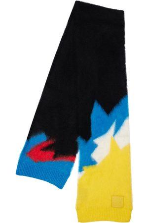 Loewe Knit Intarsia Scarf W/leather Logo Patch
