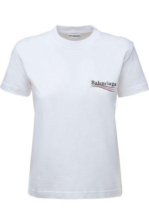 Balenciaga Political Logo Fitted Jersey T-shirt