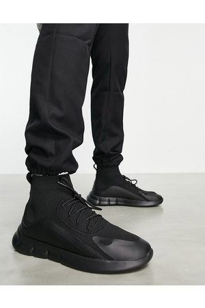 ASOS Lace up sock sneakers in black with tech detail-Grey