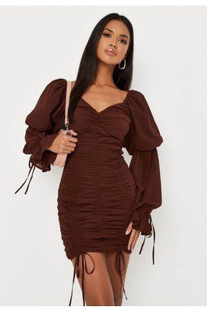 Missguided Chocolate Chiffon Overlay Puff Sleeve Mini Dress