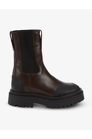 The Kooples Round-toe calf-length slip-on leather boots