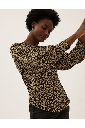 Marks & Spencer Animal Print Round Neck Long Sleeve Top
