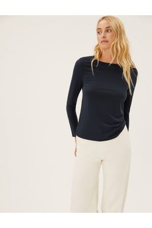 Marks & Spencer Crew Neck Relaxed Long Sleeve Top