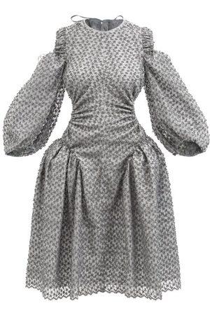 Cecilie Bahnsen Women Dresses - Jude Cutout Cherry-embroidered Wool-blend Dress - Womens - Grey