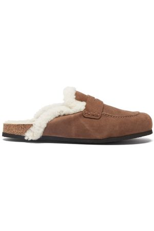 J.W.Anderson Shearling-lined Suede Backless Loafers - Mens