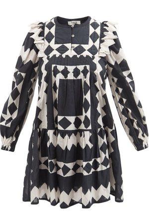 SEA Helena Geometric-print Cotton-poplin Mini Dress - Womens