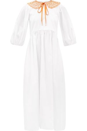 Cecilie Bahnsen Women Dresses - Mette Embroidered-collar Cotton-poplin Dress - Womens