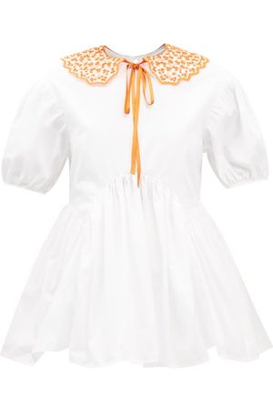 Cecilie Bahnsen Mie Embroidered-collar Cotton-poplin Blouse - Womens