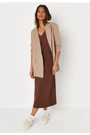 Missguided Recycled Chocolate Rib Collared Midaxi Dress