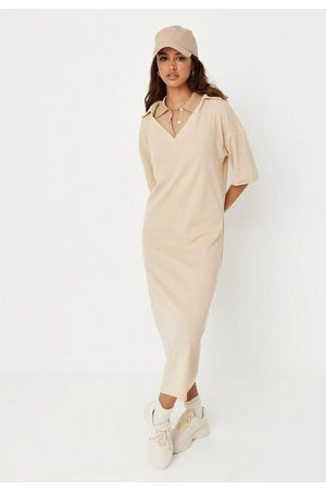 Missguided Recycled Stone Rib Collared Midaxi Dress