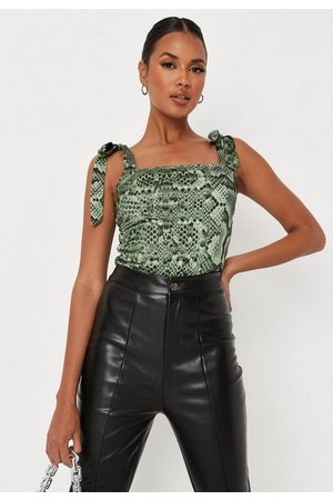 Missguided Snake Print Tie Strap Corset Top