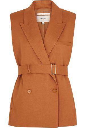 Oroton Women Blazers - Burnt orange belted linen-blend blazer