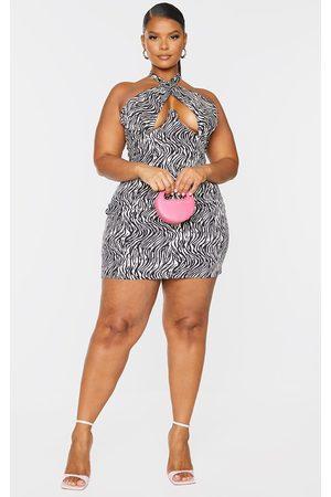 PRETTYLITTLETHING Women Bodycon Dresses - Plus Black Zebra Underwired Cross Front Bodycon Dress
