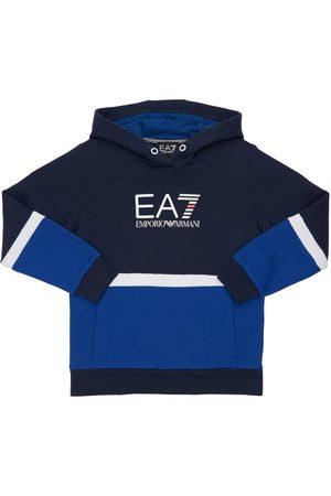 EA7 Logo Cotton Blend Sweatshirt Hoodie