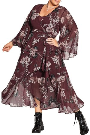 City Chic Plus Size Women's Bold Blossom Long Sleeve Wrap Dress