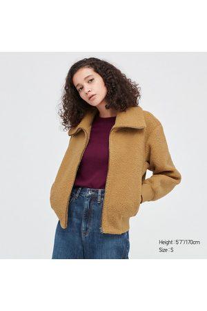UNIQLO Women Fleece Jackets - Women's Pile-Lined Fleece Cropped Full-Zip Long-Sleeve Jacket, , XXS
