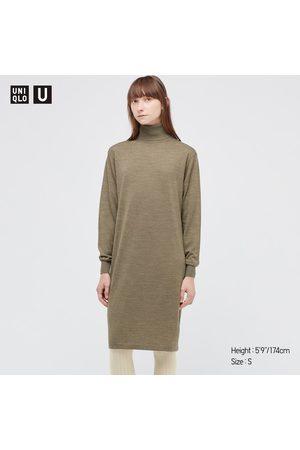 UNIQLO Women Long sleeves - Women's U Merino-Blend Turtleneck Long-Sleeve Dress, , XXS