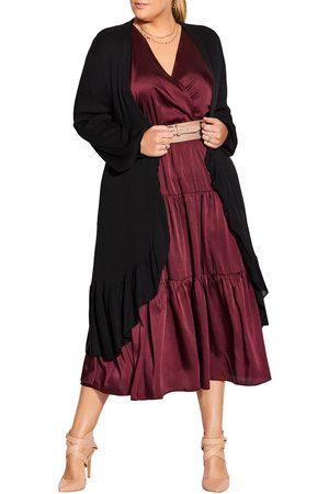 City Chic Plus Size Women's Harmony Ruffled Open Cardigan