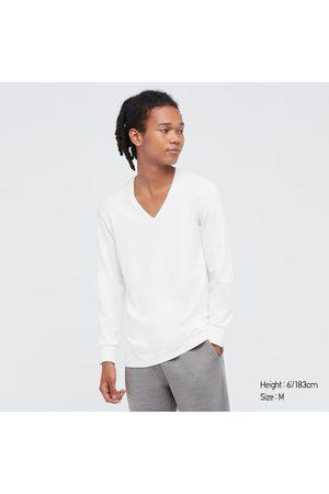 UNIQLO Men Long Sleeve - Men's HEATTECH Cotton V-Neck Long-Sleeve T-Shirt (Extra Warm), , XS