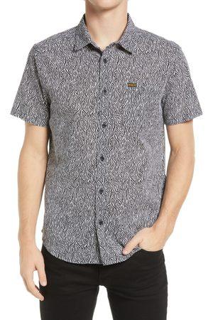 RVCA Men's Matt Leines Print Short Sleeve Cotton Button-Up Shirt