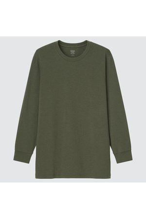 UNIQLO Men Long Sleeve - Men's HEATTECH Cotton Crew Neck Long-Sleeve T-Shirt (Extra Warm), Green, XS