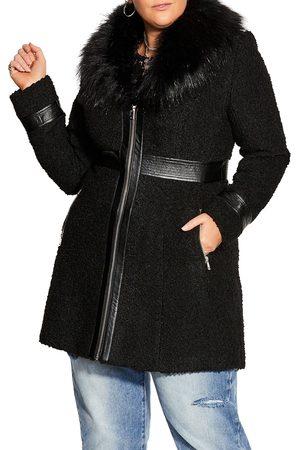 City Chic Plus Size Women's Zip Front Coat With Faux Fur Collar
