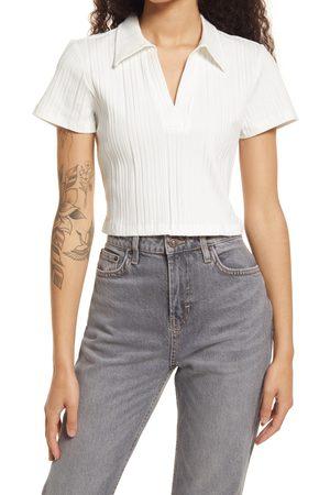 Topshop Women's Variegated Rib Collar Crop Shirt