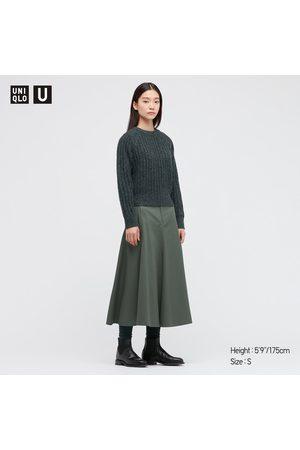 UNIQLO Women Long sleeves - Women's U Low Gauge Crew Neck Long-Sleeve Sweater, Green, XXS