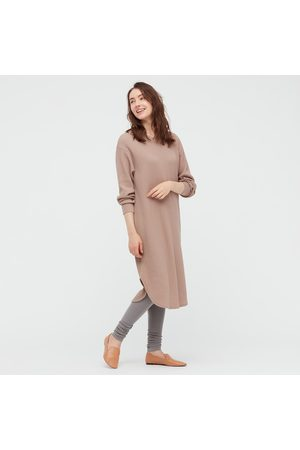 UNIQLO Women Sweats - Women's HEATTECH Knitted Ribbed Extra Long Leggings, Gray, S/M