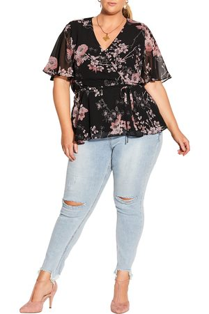 City Chic Plus Size Women's Blossom Love Flutter Sleeve Top