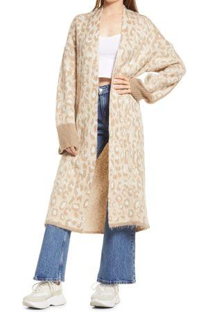 Topshop Women's Brushed Animal Pattern Maxi Cardigan