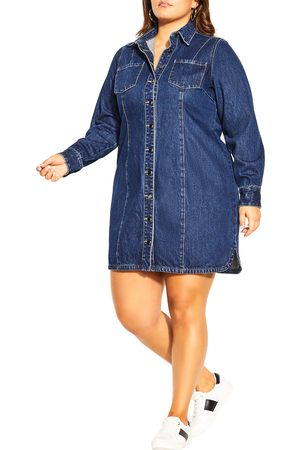 City Chic Plus Size Women's Denim Lust Long Sleeve Minidress