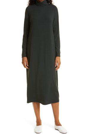 Eileen Fisher Women's Long Sleeve Scrunch Neck Jersey Dress